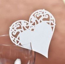 120pcs/lot Laser Cut heart shaped table name Place Card Escort Wine Glass Wedding baby shower Decoration wd107