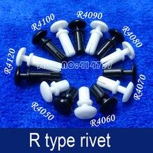 200 шт./лот R4050 R Тип нейлоновые заклепки белый/черный пластиковый нейлоновый заклепки