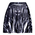 Faldas Mujer Midi Saia Curta 2015 Saia Sexy Para As Mulheres Mecânica Digital Impresso Meninas Acima Do Joelho Plissada Saias Pretas