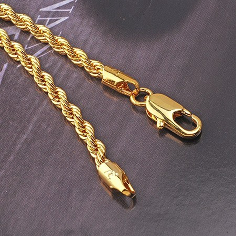 Twisted 24k Yellow Gold Filled Necklace Men Women Rope Chain Jewelry 23 6 Length