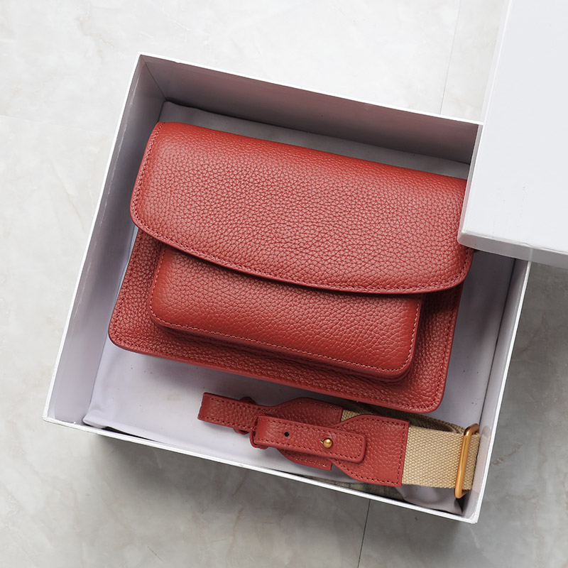Brand PASTE 100 Genuine Cowhide Leather Retro Small Square Flap Bag Wide Strap Women Shoulder Bag