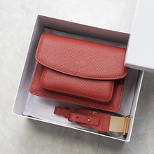 Брендовая женская сумка из натуральной воловьей кожи в стиле ретро, маленькая квадратная сумка с клапаном и широким ремешком, элегантная женская сумка через плечо