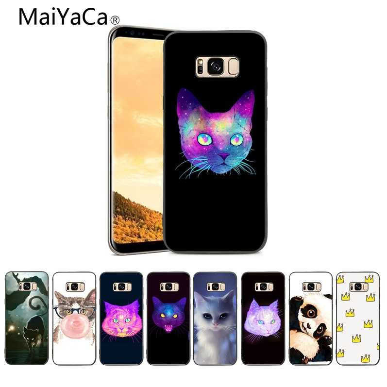 MaiYaCa cat head black Coque Shell Phone Case For Samsung Galaxy S9 S9 plus s4 s5 s6 S7 S7Edge S8 Mobile phone shell