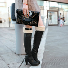 size 34-43 Fashion Women's Knee High Boots Thick Warm Winter Shoes High Heels Platform Buckle Knight Snow Boots
