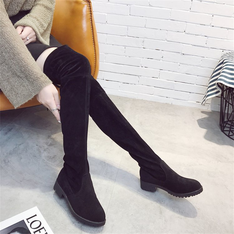 Hot Selling New Women Boots Autumn Winter Ladies Fashion Flat Bottom Boots Shoes Over The Knee Thigh High Suede Long Boots 35-40