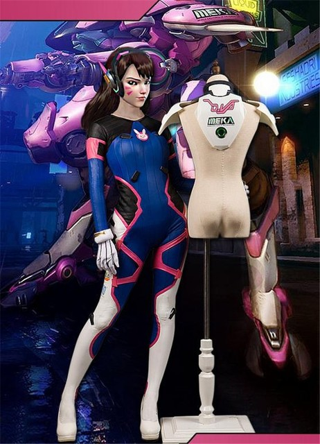 Game OW D.VA Sexy Bodysuit+Armor Full set default Sizes S-XL free shipping