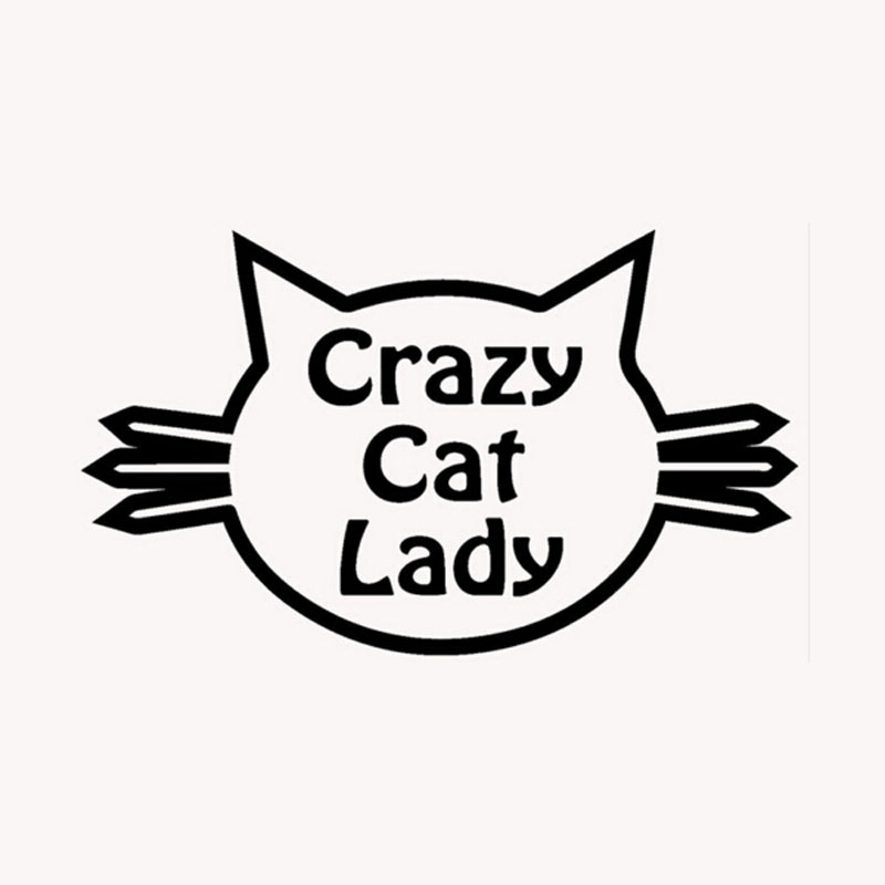 15CM*8.5CM Funny Cat Face Crazy Cat Lady Vinyl Window Decals Accessories C5-0561