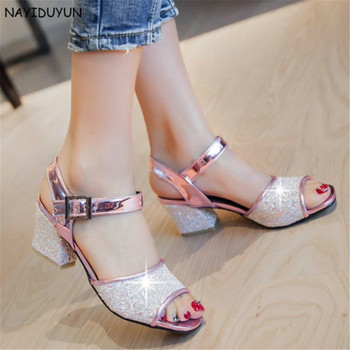 NAYIDUYUN   Women Bling Bling Ankle Strap Open Toe Roman Gladiator Sandals Summer Chunky High Heels Wedding Party Pumps Shoes
