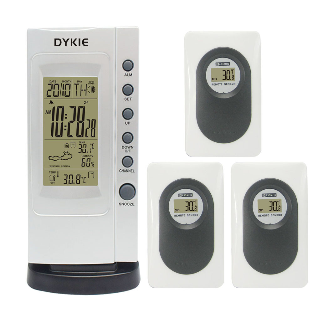 DYKIE RF Wireless Silvery Weather Station Alarm Clock With Indoor Outdoor Digital Thermometer Hygrometer + 3 Remote Transmitters indoor outdoor digital thermometer hygrometer dykie rcc wireless weather station with alarm clock weather forecast wholesale