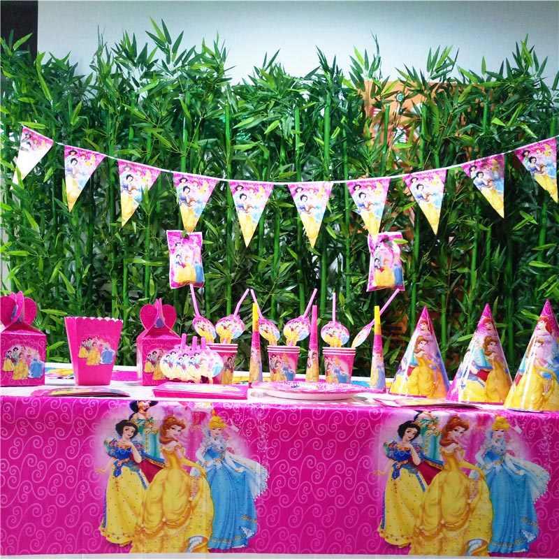 Дисней Принцесса Ариэль День Рождения украшения для девочек вечерние принадлежности одноразовая посуда скатерть баннер чашки набор сувениров