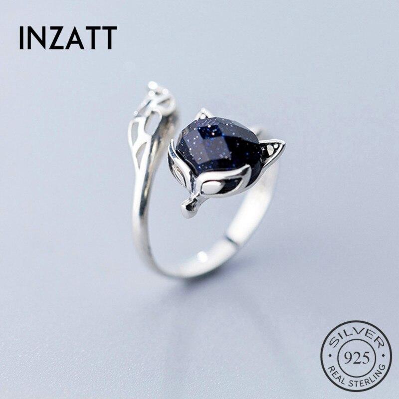 INZATT Real 925 Sterling Silver Stone Fox Animal Ring For Fashion Women Fine Jewelry Cute 2019 Accessories Gift