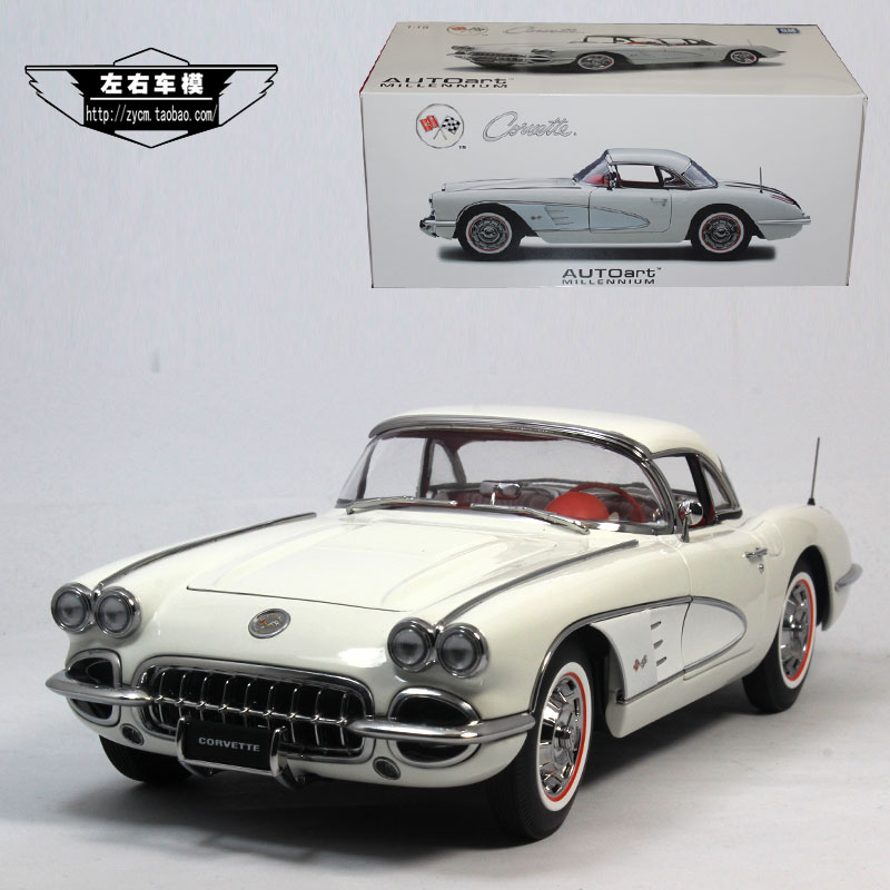 AUTOart 1/18 Scale USA 1958 Chevrolet Corvette Vintage Diecast Metal Car Model Toy New In Box For Collection/Gift brand new 1 72 scale fighter model toys usa f a 18f super hornet fighter diecast metal plane model toy for gift collection
