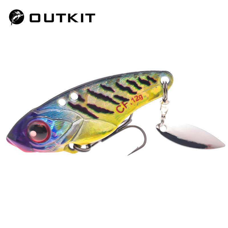 OUTKIT Metal Jig Fishing Lure 7 Color 4cm 6g 9g 12g Wobbler Spoon Jig Head VIB Lures Winter Artificial Baits Fishing Accessories