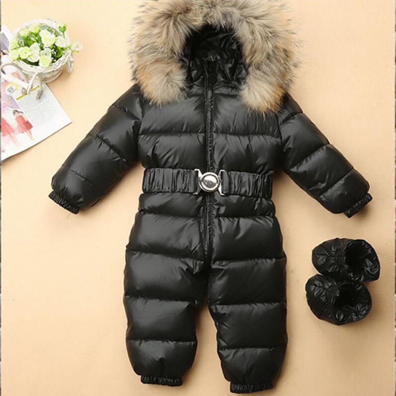 Baby Duck Down Rompers Boys Girls Winter Overalls Baby Rompers Jumpsuit Fur collar Children Outerwear Kids Snowsuit New Year купить в Москве 2019