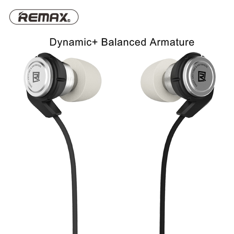 Remax In Ear Stereo Wired Moving Coil balance armture Hybrid Earphone with Music Control Mobile Phone