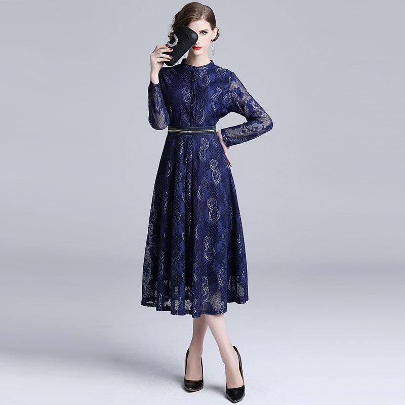 Borisovich dames élégant robe de soirée nouveau 2018 automne mode angleterre Style grand Swing a-ligne bleu dentelle femmes longues robes N5366