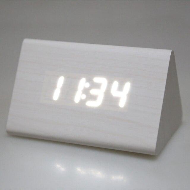 Фирменная Новинка AAA/USB Powered Творческий Простой Мини Деревянные электронных Desktop Цифровой настольный Часы LED Будильник 3 вида стилей