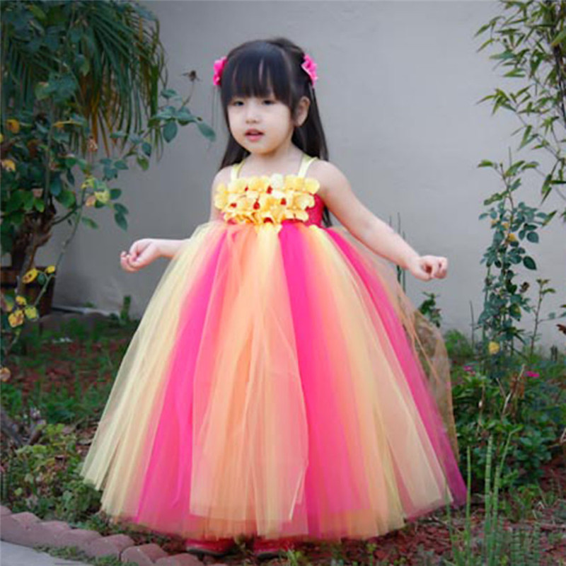Belle arc-en-ciel Tutu robe filles enfants fleur fille robes Tulle princesse robe Costumes enfants fête anniversaire robes de mariée