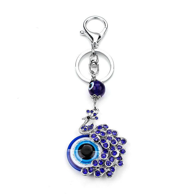 Mode Biru Kristal Peacock Keychain Keyring Perhiasan Hadiah Purse Bag perhiasan Evil Eye