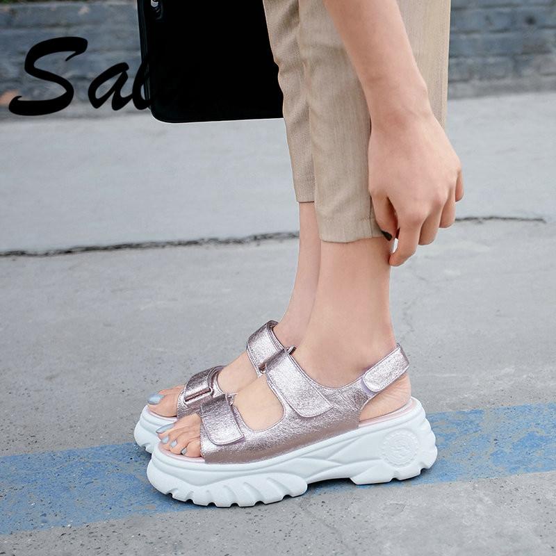Salu 패션 플랫폼 여성 샌들 2019 고품질 아이 가죽 파티 캐주얼 신발 핑크 실버 라운드 발가락 신발 여자-에서하이힐부터 신발 의  그룹 1