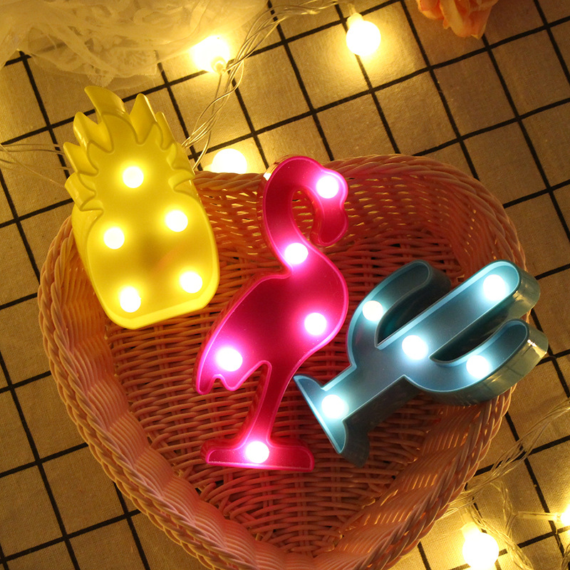 1Pcs LED Mini Night Lights Flamingo Pineapple Cactus 3D Lights Festival Bedroom Party Decor Kids Baby Birthday Christmas Gift (4)