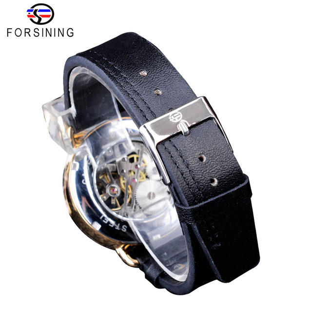 Forsining Classic Black Golden Openwork Watches Skeleton Mens Mechanical Wristwatches Top Brand Luxury Black Genuine Leather 4