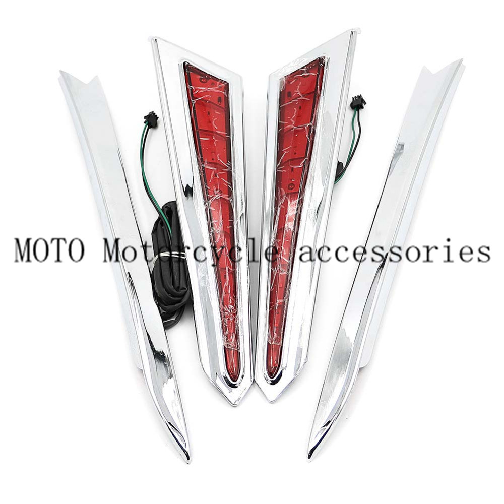 Motorcycle Chrome LED Saddle Bag Saddlebag Accents Cover Extensions For Victory Cross Country 10-17 Hard-Ball 10-13 Cross Roads image