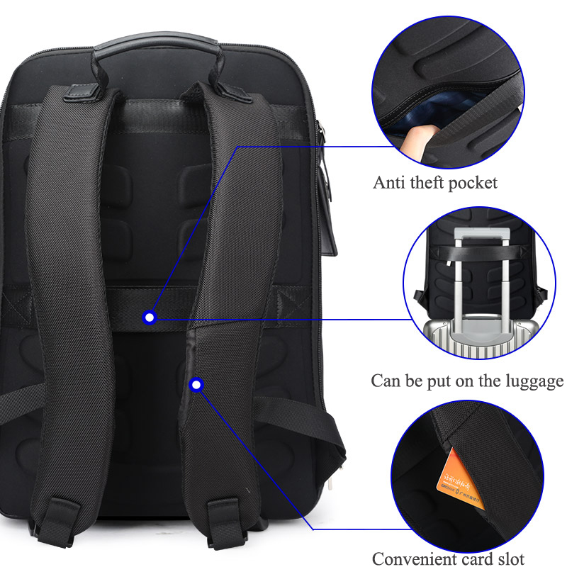 Image 4 - BOPAI Shell Shape Business Men's Office Work Backpack USB Charge Cool Male Leather Daypack Backpack Men's Shoulder Bags for Work-in Backpacks from Luggage & Bags
