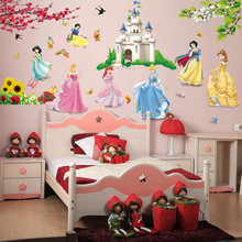 snow white princess castle wall stickers girls bedroom decoration diy cartoon movie mural art decals home decor kids gift(China)