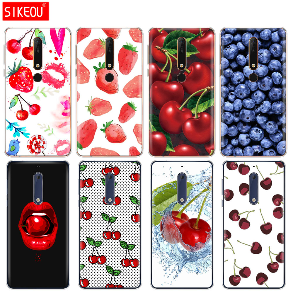silicone <font><b>cover</b></font> phone case <font><b>for</b></font> <font><b>Nokia</b></font> 5 3 6 7 PLUS 8 9 /<font><b>Nokia</b></font> 6.1 5.1 3.1 <font><b>2.1</b></font> 6 <font><b>2018</b></font> fruit cherry Strawberry design image