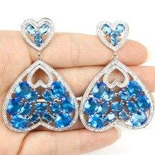 Длинные большой любви сердце Швейцарский синий кристалл Камни, Белый CZ shecrown Свадьба Серебро 925 earr 59×40 мм