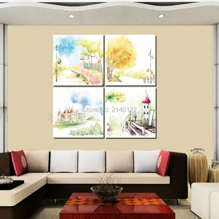 Hot Canvas Print 4pcs No Framed Castle Art Canvas Hd