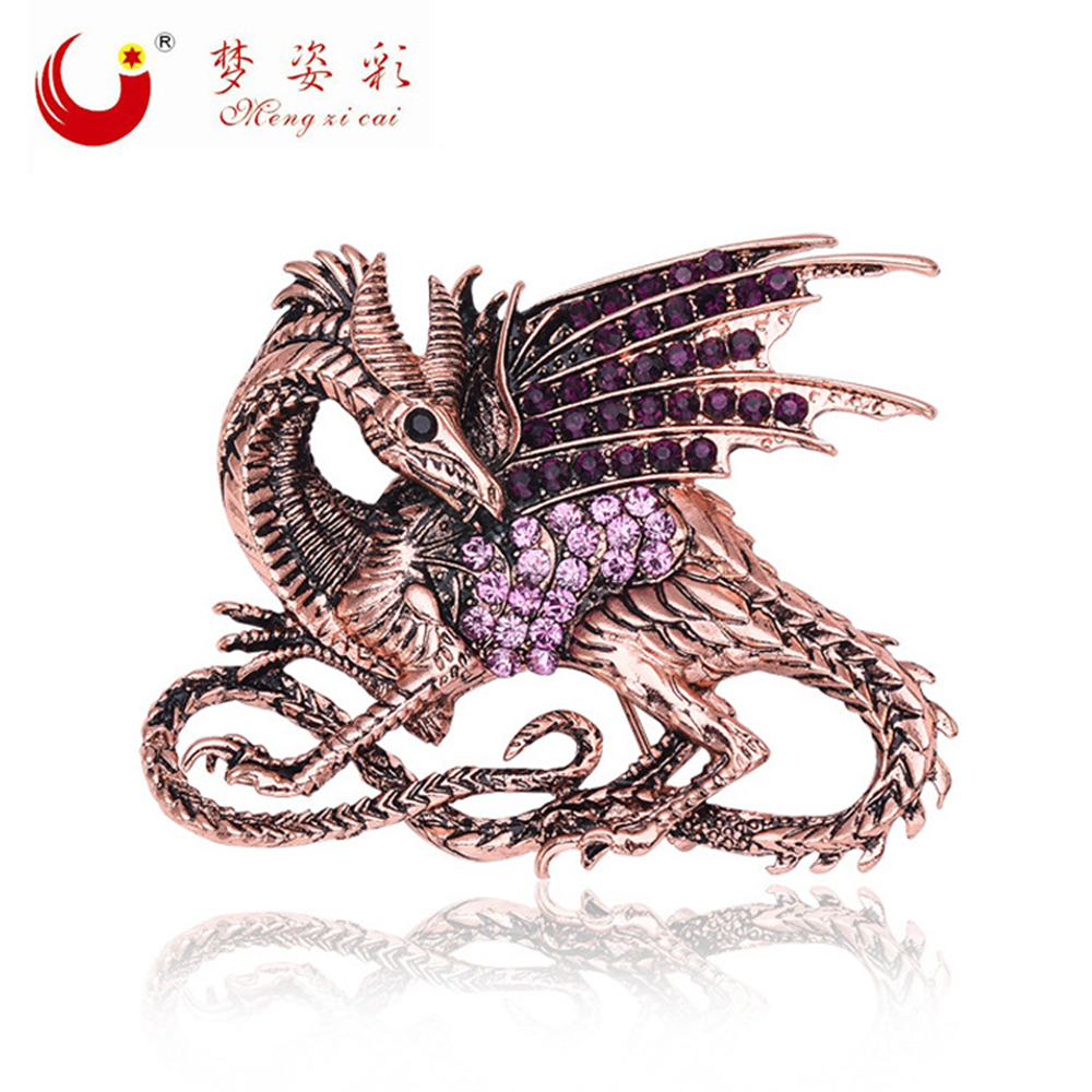 New Trendy Vintage Rhinestone Game of Thrones Purple Dragon Brooch Pin Antique Crystal Large Female Brush Մեծ արական բրոշյուրներ
