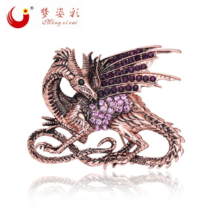 New Trendy Vintage Rhinestone Game of Thrones Purple Dragon Brooch Pin Antique Crystal Large Female Broach Big Male Broches