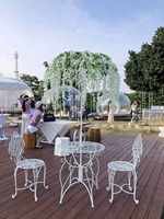 Iron umbrella table Wedding props Outdoor leisure table wedding table wedding centerpieces stands with table