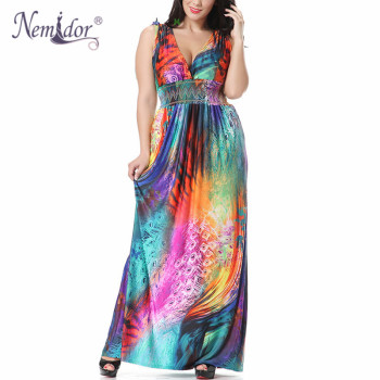 Women Sexy V-neck Beach Stretchy Print Dress Plus Size 7XL Vintage Sleeveless Patchwork Long Dress