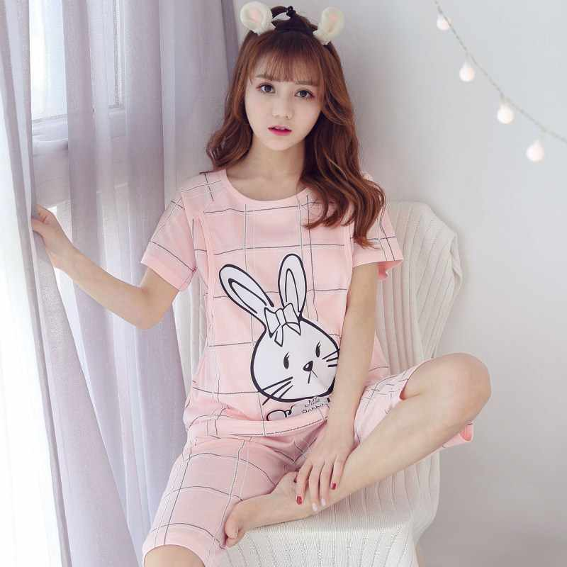 2019 Summer short-sleeved breast-feeding clothes for maternity fashion household clothes cotton pajamas for pregnant women
