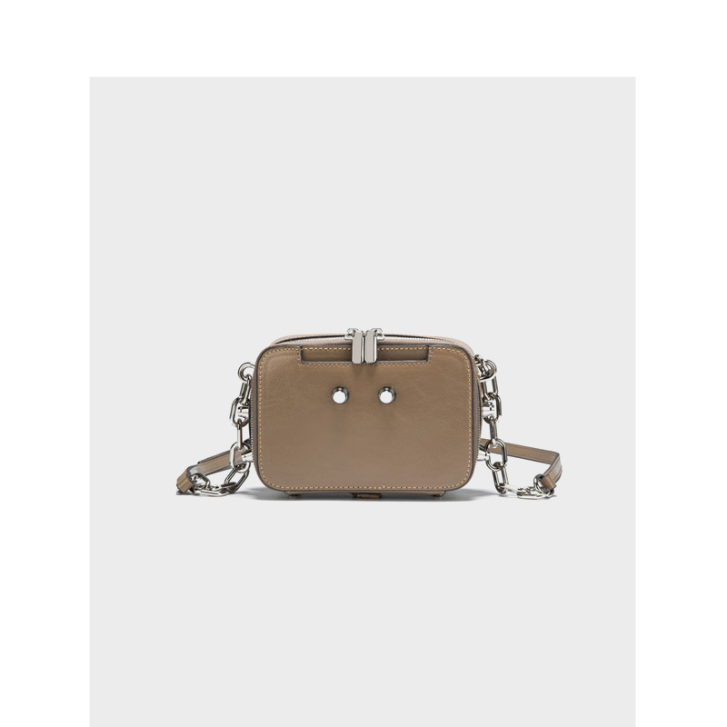 LOVELY Small Bag Woman 2019 Joker Genuine Leather Chain Single Shoulder Package Mini Oblique Satchel Rivet Camera Package