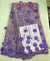 (5yards/pcs)Violet 3 d flowers beaded laces fabric embroidered nigerian for sewing african women bridal dress Apr-4-2017