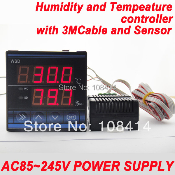 AC85~245VAC Power Supply Professional Digital temperature Humidity control controller with 3M Cable and sensor, Relay Output  ac 150v 250v 800w double digits digital power controller dpc ii 800r zqpww