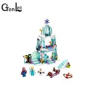 314pcs SY373 Girl Friends Elsa S Sparkling Ice Castle Anna Elsa Queen Kristoff Olaf Building Blocks