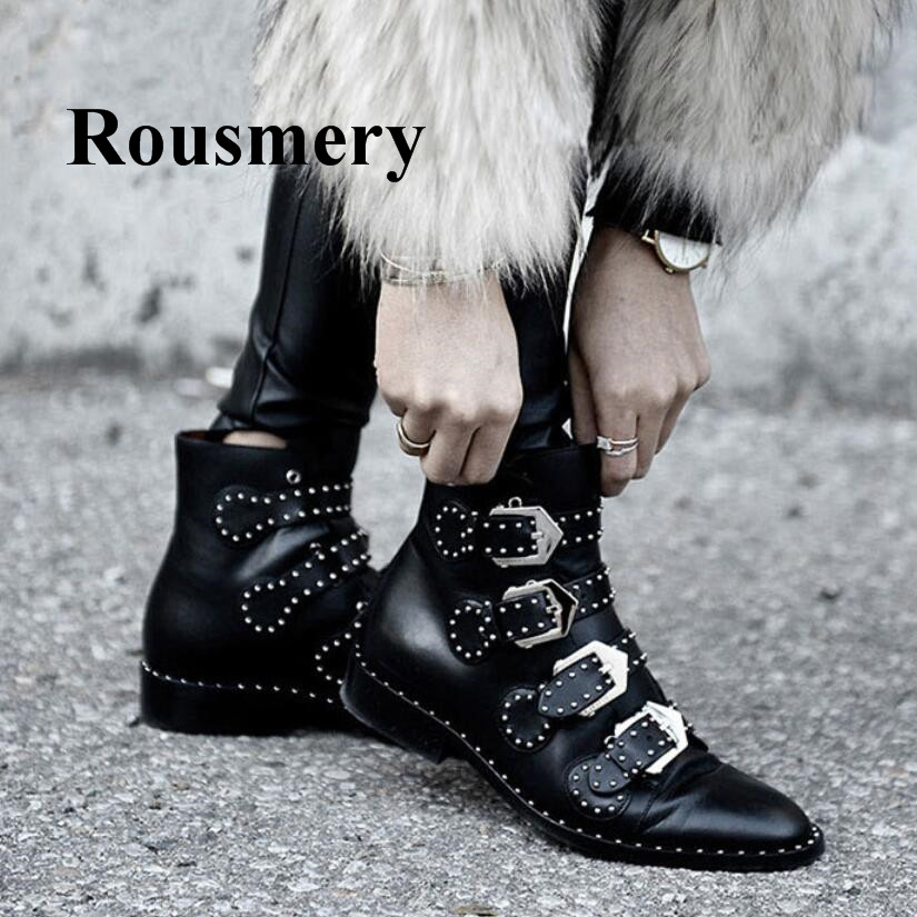 Europe Style Fashion Genuine Leather High Quality Buckle Strap Round Toe Square Heel Winter Flat Women Ankle Boots стоимость