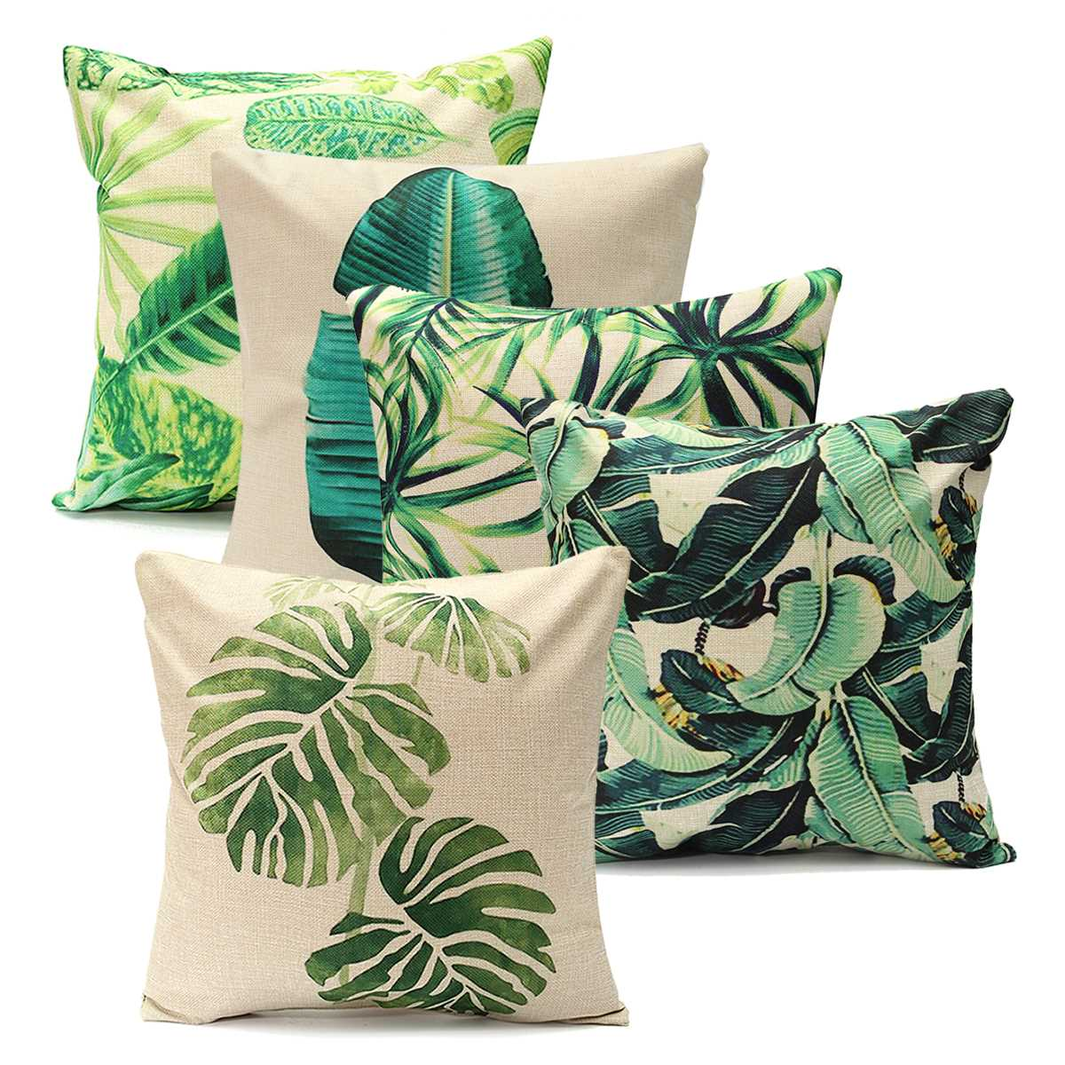 Pillowcases Green Leaf Cotton Linen Cushion Pillow Cover Waist Throw Case Home Bed Beauty Comfortable Pillow Sham