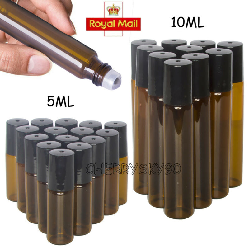 5/10ml Portable Amber Glass Hot Roll Bottles Rollerball Essential Oil Bottles Mist Container Travel Refillable Bottle Transparen
