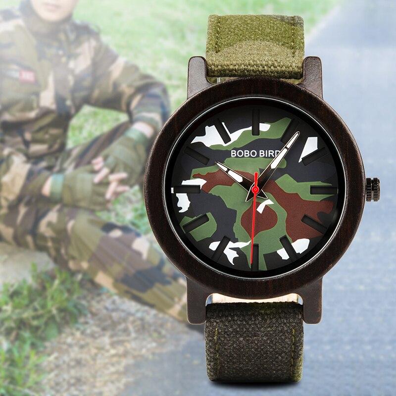 Image 2 - BOBO BIRD Army Green Watch Men Wood Luxury Top Brand Quartz Watches Great Gift for Boyfriend relogio masculino in Wooden BoxQuartz Watches   -