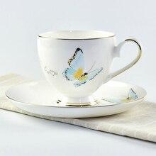 Китайский костяного фарфора кофейная чашка и блюдце керамический кофейный набор креативный простой набор кофейных чашек 1 чашка 1VCD