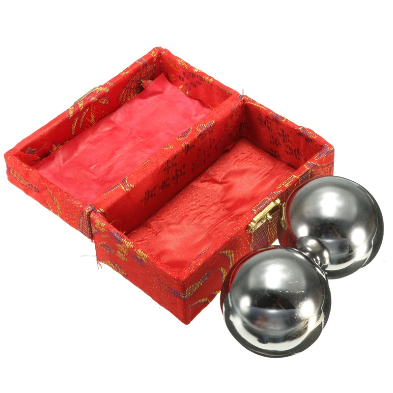 Practical 2Pcs Metal Exercise Hand Wrist Solid Chrome Baoding Balls Chinese Health Therapy Stress Massager