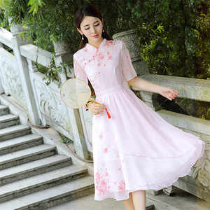 Image 3 - High Quality Explosions Leisure Print  Retro matching  Dresses Women  Summer Casual  Dress