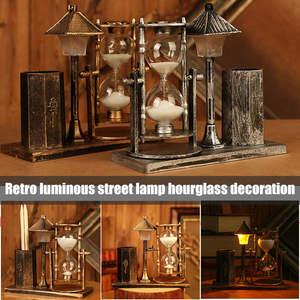 Ornament Tower-Desk-Lamp Retro Table-Decor Led-Night-Light with Home Sandglass