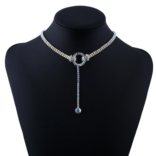 Nueva moda rhinestone blanco de joyería de moda colgante collar collares de lujo para las mujeres brillantes multi fila crystal choker